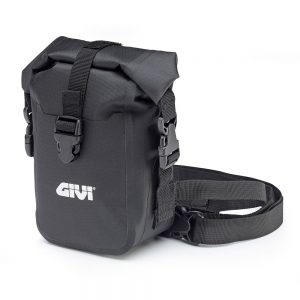 BLACK WATERPROOF LEG BAG WITH ADJUSTABLE ATTACHING STRAPS