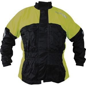 RICHA RAIN WARRIOR WATERPROOF OVER JACKET BLACK FLURO