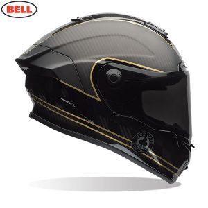 Bell Street 2021 Race Star Flex DLX Adult Helmet (Speed Check Matte Black/Gold)