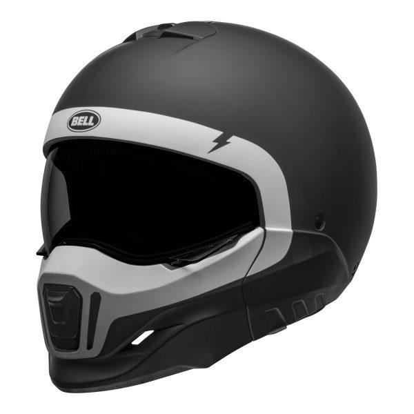 bell-broozer-street-helmet-cranium-matte-black-white-front-left__91245.jpg-Bell Cruiser 2021 Broozer Adult Helmet (Cranium Matte Black/White)