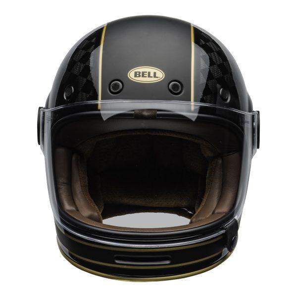 bell-bullitt-carbon-culture-helmet-rsd-check-it-matte-gloss-black-clear-shield-front-BELL BULLITT CARBON RSD CHECK IT MATT/GLOSS BLACK GOLD