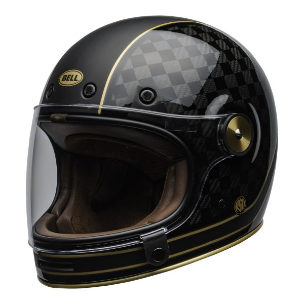 bell-bullitt-carbon-culture-helmet-rsd-check-it-matte-gloss-black-clear-shield-front-left-BELL BULLITT CARBON RSD CHECK IT MATT/GLOSS BLACK GOLD