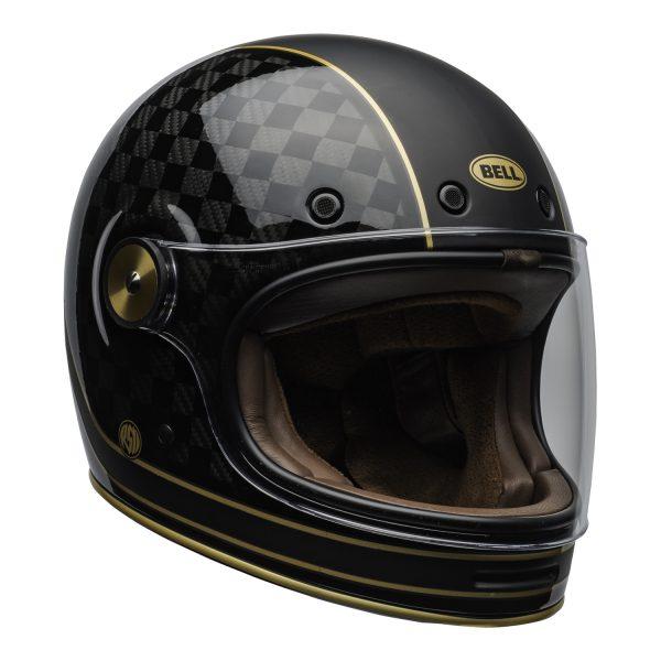 bell-bullitt-carbon-culture-helmet-rsd-check-it-matte-gloss-black-clear-shield-front-right-BELL BULLITT CARBON RSD CHECK IT MATT/GLOSS BLACK GOLD