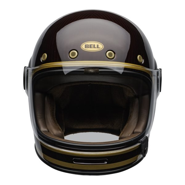 bell-bullitt-carbon-culture-helmet-transcend-gloss-candy-red-gold-clear-shield-front-BELL BULLITT CARBON TRANSEND CANDY RED GOLD