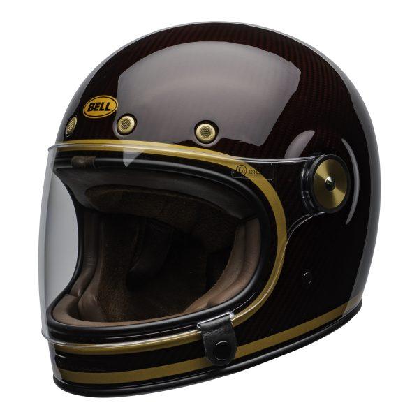 bell-bullitt-carbon-culture-helmet-transcend-gloss-candy-red-gold-clear-shield-front-left-BELL BULLITT CARBON TRANSEND CANDY RED GOLD