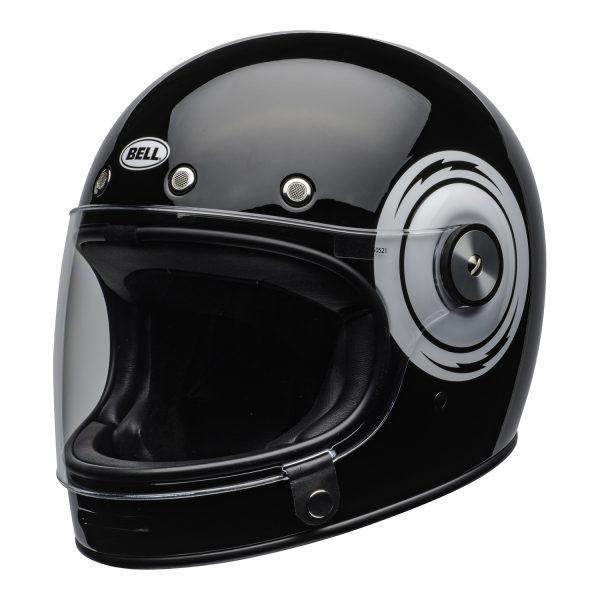 bell-bullitt-culture-helmet-bolt-gloss-black-white-clear-shield-front-left-BELL BULLITT DLX BOLT BLACK WHITE