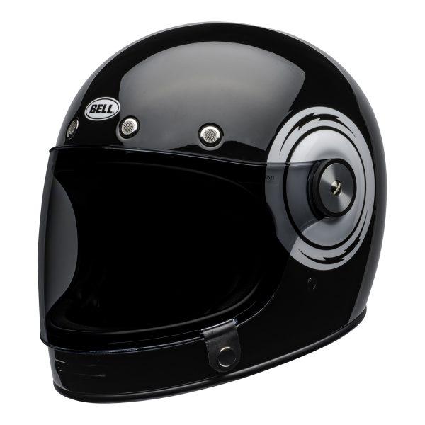 bell-bullitt-culture-helmet-bolt-gloss-black-white-front-left.jpg-Bell 2021 Cruiser Bullitt Adult Helmet (Bolt Black/White)