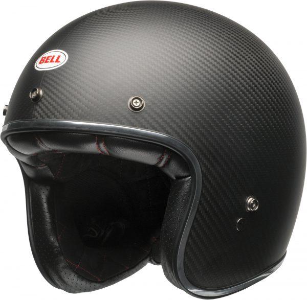 bell-custom-500-carbon-culture-helmet-matte-black-carbon-front-left-BELL CRUISER CUSTOM 500 BLANK GLOSS BLACK STD