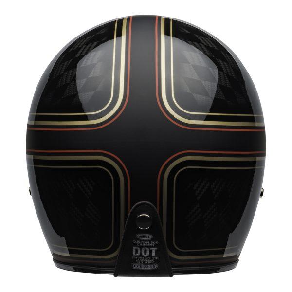 bell-custom-500-carbon-culture-helmet-rsd-checkmate-matte-gloss-black-gold-back-BELL CRUISER CUSTOM 500 BLANK GLOSS BLACK STD
