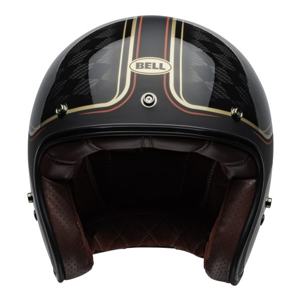 bell-custom-500-carbon-culture-helmet-rsd-checkmate-matte-gloss-black-gold-front.jpg-Bell Crusier 2021 Custom 500 Carbon Adult Helmet (RSD Checkmate M/G Black/Gold)