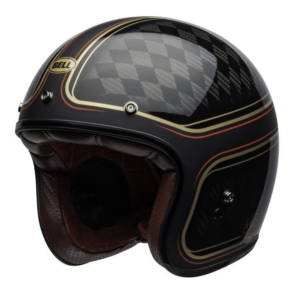 bell-custom-500-carbon-culture-helmet-rsd-checkmate-matte-gloss-black-gold-front-left.jpg-Bell Crusier 2021 Custom 500 Carbon Adult Helmet (RSD Checkmate M/G Black/Gold)