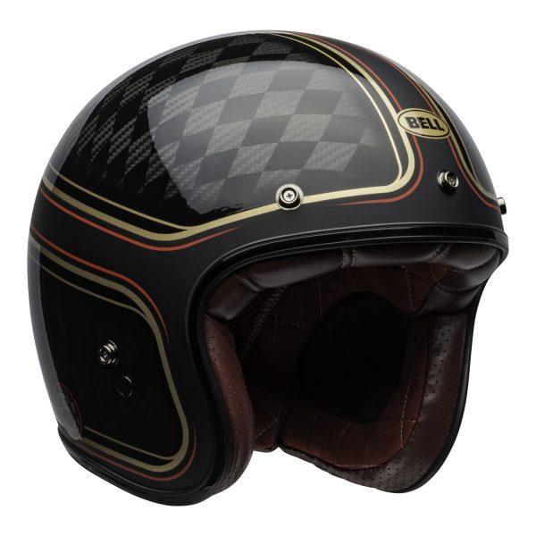 bell-custom-500-carbon-culture-helmet-rsd-checkmate-matte-gloss-black-gold-front-right.jpg-Bell Crusier 2021 Custom 500 Carbon Adult Helmet (RSD Checkmate M/G Black/Gold)