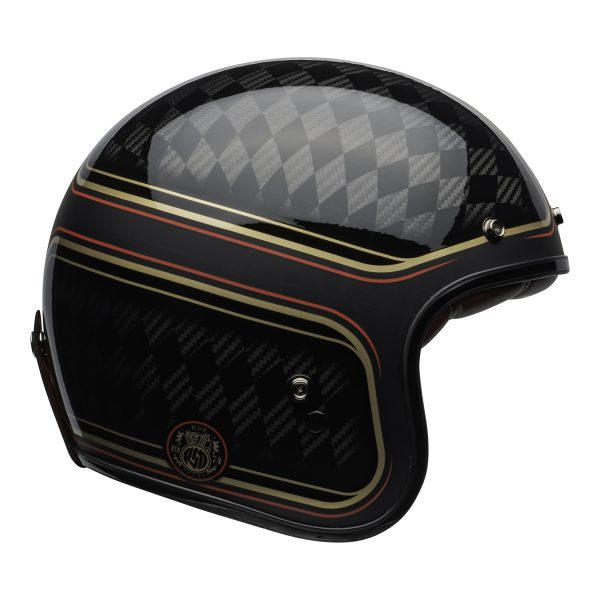 bell-custom-500-carbon-culture-helmet-rsd-checkmate-matte-gloss-black-gold-right.jpg-Bell Crusier 2021 Custom 500 Carbon Adult Helmet (RSD Checkmate M/G Black/Gold)