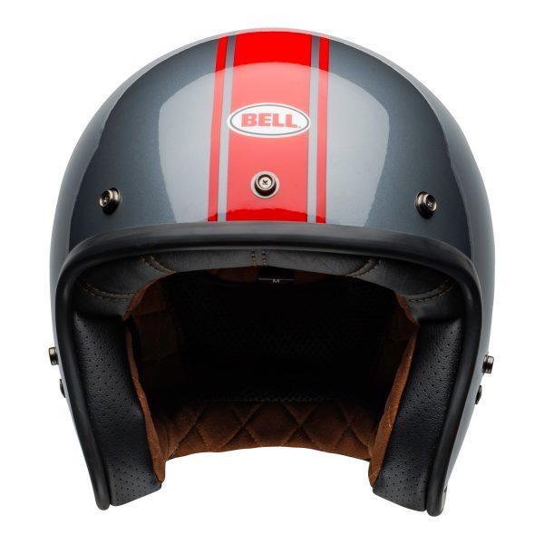 bell-custom-500-culture-helmet-rally-gloss-gray-red-front.jpg-Bell Crusier 2021 Custom 500 DLX Adult Helmet (Rally Gloss Grey/Red)