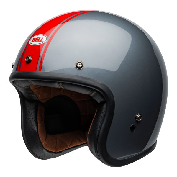 bell-custom-500-culture-helmet-rally-gloss-gray-red-front-left.jpg-Bell Crusier 2021 Custom 500 DLX Adult Helmet (Rally Gloss Grey/Red)