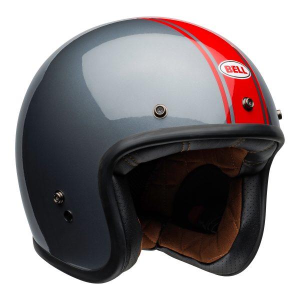 bell-custom-500-culture-helmet-rally-gloss-gray-red-front-right.jpg-Bell Crusier 2021 Custom 500 DLX Adult Helmet (Rally Gloss Grey/Red)
