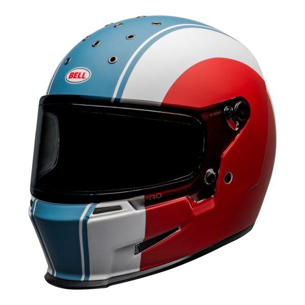bell-eliminator-culture-helmet-slayer-matte-white-red-blue-front-left.jpg-Bell 2021 Cruiser Eliminator Adult Helmet (Slayer White/Red/Blue)