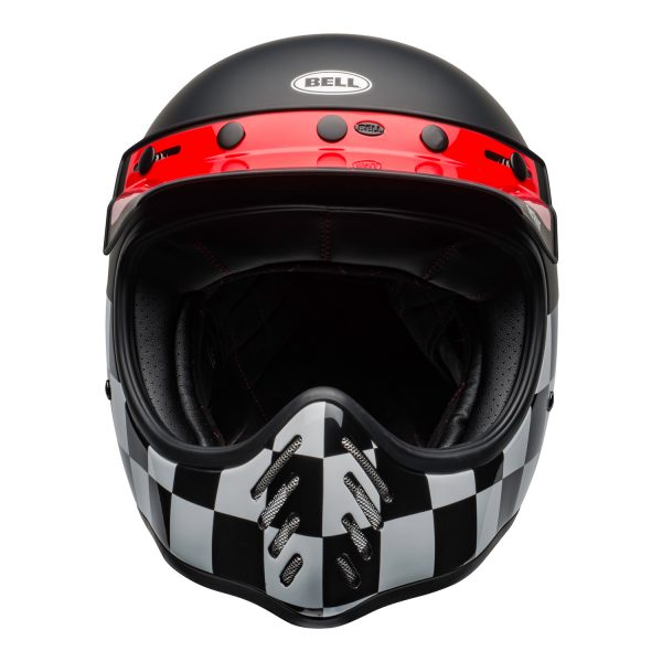 bell-moto-3-culture-helmet-fasthouse-checkers-matte-gloss-black-white-red-front.jpg-Bell 2021 Cruiser Moto 3 Adult Helmet (Fasthouse Checkers M/G Black/White/Red)