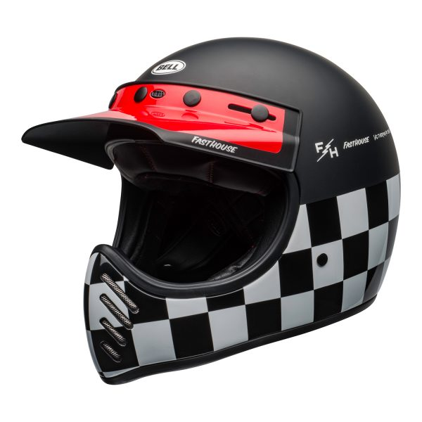 bell-moto-3-culture-helmet-fasthouse-checkers-matte-gloss-black-white-red-front-left.jpg-Bell 2021 Cruiser Moto 3 Adult Helmet (Fasthouse Checkers M/G Black/White/Red)