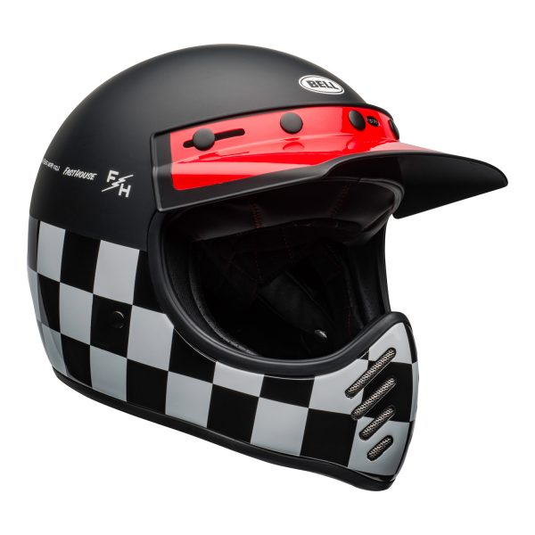 bell-moto-3-culture-helmet-fasthouse-checkers-matte-gloss-black-white-red-front-right.jpg-Bell 2021 Cruiser Moto 3 Adult Helmet (Fasthouse Checkers M/G Black/White/Red)