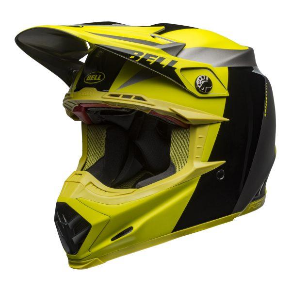 bell-moto-9-flex-dirt-helmet-division-matte-gloss-black-hi-viz-gray-front-left.jpg-Bell MX 2021 Moto-9 Flex Adult Helmet (Division M/G Black/Hi Viz/Gray)