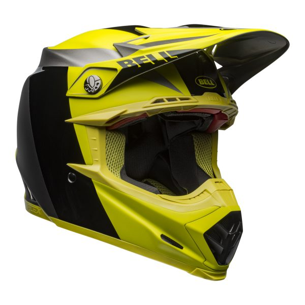 bell-moto-9-flex-dirt-helmet-division-matte-gloss-black-hi-viz-gray-front-right.jpg-Bell MX 2021 Moto-9 Flex Adult Helmet (Division M/G Black/Hi Viz/Gray)