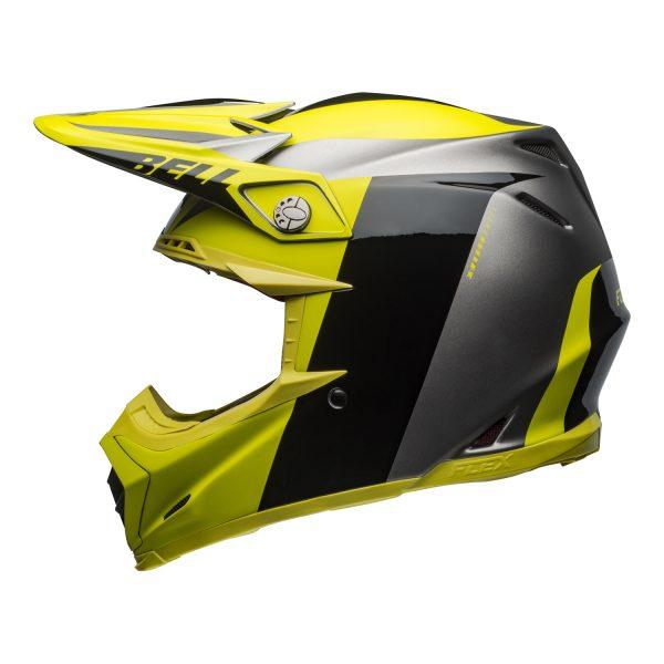 bell-moto-9-flex-dirt-helmet-division-matte-gloss-black-hi-viz-gray-left.jpg-Bell MX 2021 Moto-9 Flex Adult Helmet (Division M/G Black/Hi Viz/Gray)