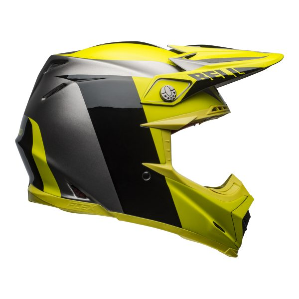 bell-moto-9-flex-dirt-helmet-division-matte-gloss-black-hi-viz-gray-right.jpg-Bell MX 2021 Moto-9 Flex Adult Helmet (Division M/G Black/Hi Viz/Gray)