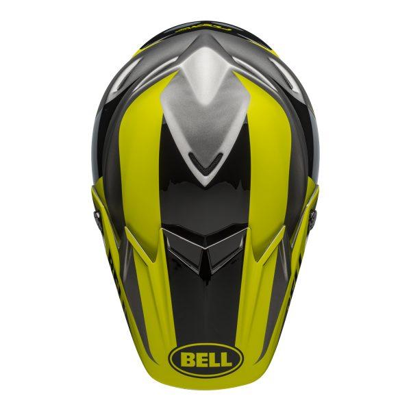 bell-moto-9-flex-dirt-helmet-division-matte-gloss-black-hi-viz-gray-top.jpg-Bell MX 2021 Moto-9 Flex Adult Helmet (Division M/G Black/Hi Viz/Gray)
