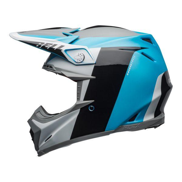 bell-moto-9-flex-dirt-helmet-division-matte-gloss-white-black-blue-left.jpg-Bell MX 2021 Moto-9 Flex Adult Helmet (Division M/G White/Black/Blue)