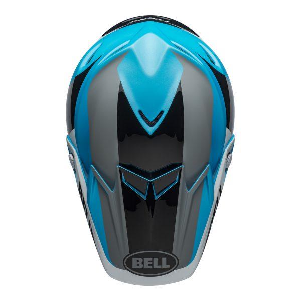 bell-moto-9-flex-dirt-helmet-division-matte-gloss-white-black-blue-top.jpg-Bell MX 2021 Moto-9 Flex Adult Helmet (Division M/G White/Black/Blue)