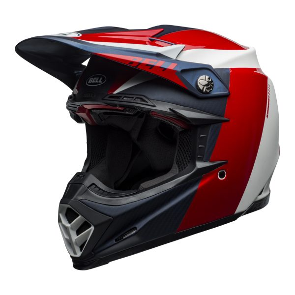 bell-moto-9-flex-dirt-helmet-division-matte-gloss-white-blue-red-front-left.jpg-Bell MX 2021 Moto-9 Flex Adult Helmet (Division M/G White/Blue/Red)