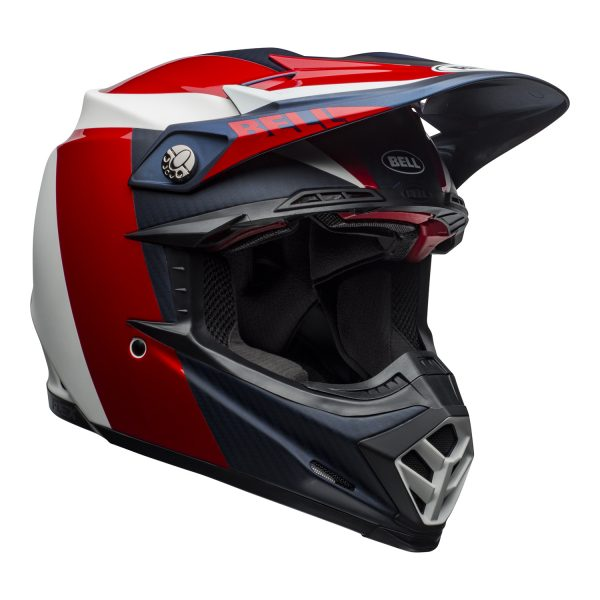 bell-moto-9-flex-dirt-helmet-division-matte-gloss-white-blue-red-front-right.jpg-Bell MX 2021 Moto-9 Flex Adult Helmet (Division M/G White/Blue/Red)