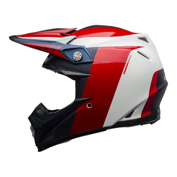 bell-moto-9-flex-dirt-helmet-division-matte-gloss-white-blue-red-left.jpg-Bell MX 2021 Moto-9 Flex Adult Helmet (Division M/G White/Blue/Red)