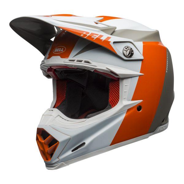 bell-moto-9-flex-dirt-helmet-division-matte-gloss-white-orange-sand-front-left.jpg-Bell MX 2021 Moto-9 Flex Adult Helmet (Division M/G White/Orange/Sand)