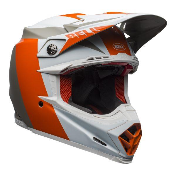 bell-moto-9-flex-dirt-helmet-division-matte-gloss-white-orange-sand-front-right.jpg-Bell MX 2021 Moto-9 Flex Adult Helmet (Division M/G White/Orange/Sand)