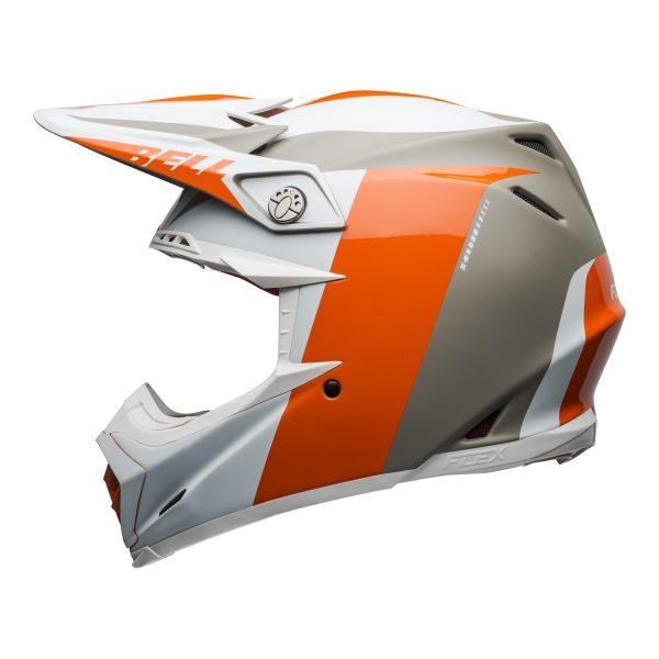 bell-moto-9-flex-dirt-helmet-division-matte-gloss-white-orange-sand-left.jpg-Bell MX 2021 Moto-9 Flex Adult Helmet (Division M/G White/Orange/Sand)