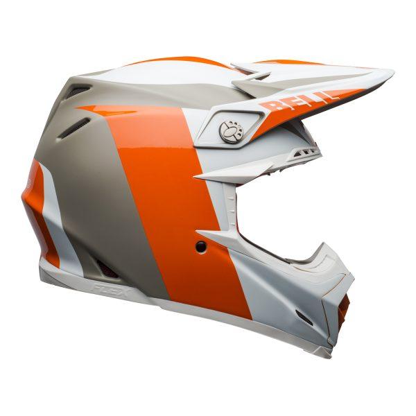 bell-moto-9-flex-dirt-helmet-division-matte-gloss-white-orange-sand-right.jpg-Bell MX 2021 Moto-9 Flex Adult Helmet (Division M/G White/Orange/Sand)