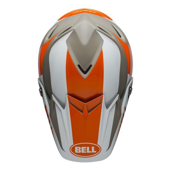 bell-moto-9-flex-dirt-helmet-division-matte-gloss-white-orange-sand-top.jpg-Bell MX 2021 Moto-9 Flex Adult Helmet (Division M/G White/Orange/Sand)