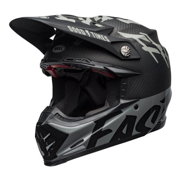 bell-moto-9-flex-dirt-helmet-fasthouse-wrwf-matte-gloss-black-white-gray-front-left.jpg-Bell MX 2021 Moto-9 Flex Adult Helmet (FastHouse WRWF M/G Black/White/Gray)