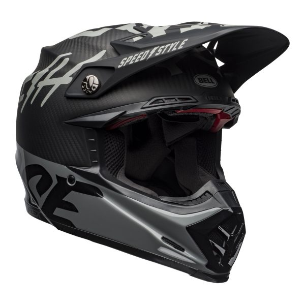bell-moto-9-flex-dirt-helmet-fasthouse-wrwf-matte-gloss-black-white-gray-front-right.jpg-Bell MX 2021 Moto-9 Flex Adult Helmet (FastHouse WRWF M/G Black/White/Gray)