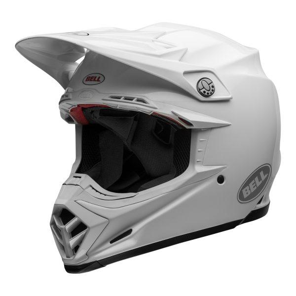 bell-moto-9-flex-dirt-helmet-gloss-white-front-left.jpg-Bell MX 2021 Moto-9 Flex Adult Helmet (Gloss White)