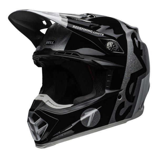 bell-moto-9-flex-dirt-helmet-seven-galaxy-matte-gloss-black-silver-front-left.jpg-Seven MX 2021 Moto-9 Flex Adult Helmet (Galaxy M/G Black/Silver)