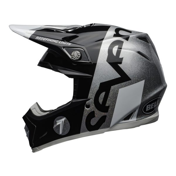 bell-moto-9-flex-dirt-helmet-seven-galaxy-matte-gloss-black-silver-left.jpg-Seven MX 2021 Moto-9 Flex Adult Helmet (Galaxy M/G Black/Silver)