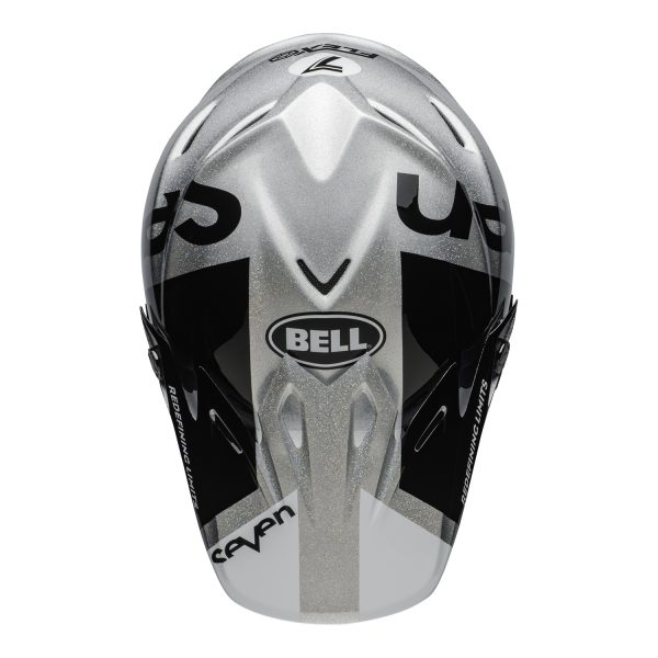 bell-moto-9-flex-dirt-helmet-seven-galaxy-matte-gloss-black-silver-top.jpg-Seven MX 2021 Moto-9 Flex Adult Helmet (Galaxy M/G Black/Silver)