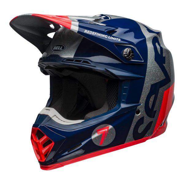 bell-moto-9-flex-dirt-helmet-seven-galaxy-matte-gloss-navy-silver-front-left.jpg-Seven MX 2021 Moto-9 Flex Adult Helmet (Galaxy M/G Navy/Silver)