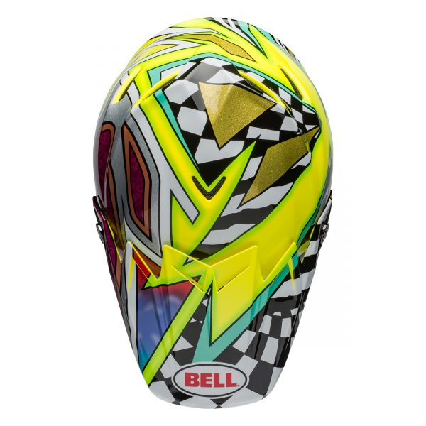 bell-moto-9-flex-dirt-helmet-tagger-mayhem-gloss-green-black-white-top__24636.jpg-Bell MX 2021 Moto-9 Flex Adult Helmet (Tagger Mayhem Green/Black/White)