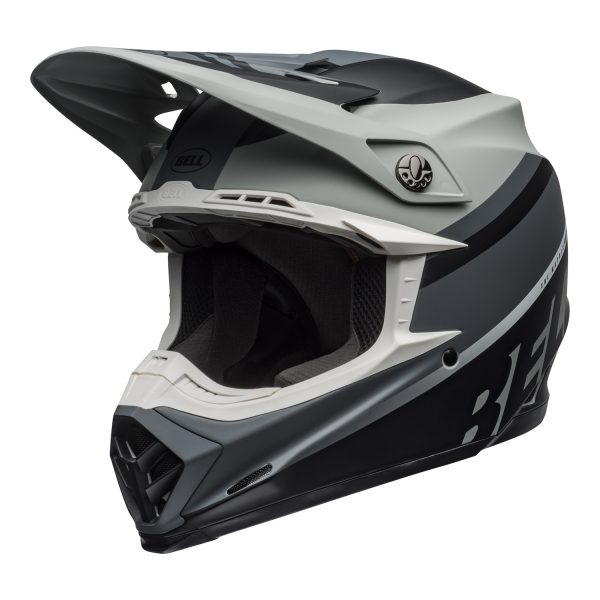 bell-moto-9-mips-dirt-helmet-prophecy-matte-gray-black-white-front-left.jpg-Bell MX 2021 Moto-9 Mips Adult Helmet (Prophecy Matte Gray/Black/White)