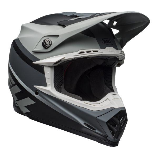 bell-moto-9-mips-dirt-helmet-prophecy-matte-gray-black-white-front-right.jpg-Bell MX 2021 Moto-9 Mips Adult Helmet (Prophecy Matte Gray/Black/White)