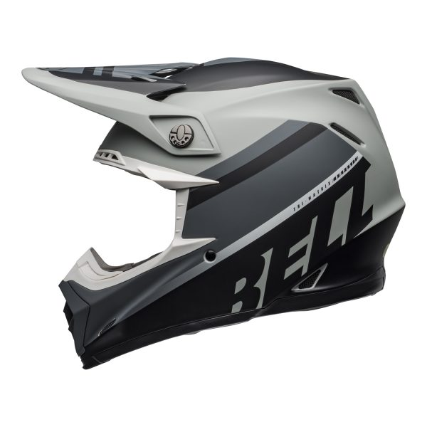 bell-moto-9-mips-dirt-helmet-prophecy-matte-gray-black-white-left.jpg-Bell MX 2021 Moto-9 Mips Adult Helmet (Prophecy Matte Gray/Black/White)